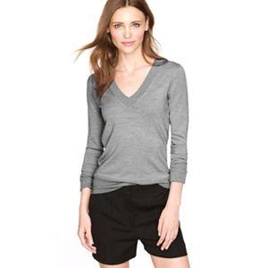 J.CREW Gray Merino Wool V-Neck Sweater